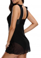 wholesale V Neck Chiffon Panel Black Swimdress