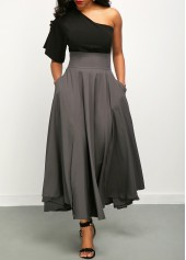 One Shoulder Top and High Waist Belted Skirt