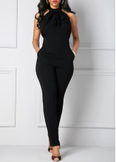 wholesale Solid Black Halter Neck Pocket Jumpsuit