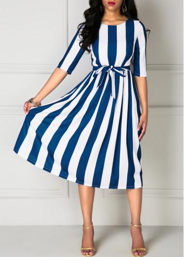Stripe-Print-Half-Sleeve-Belted-Dress