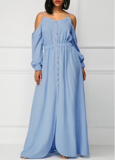 Long-Sleeve-Blue-Off-the-Shoulder-Maxi-Dress