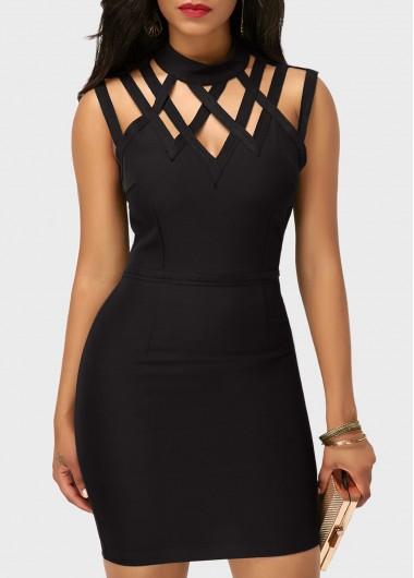 High-Neck-Cutout-Sleeveless-Black-Sheath-Dress