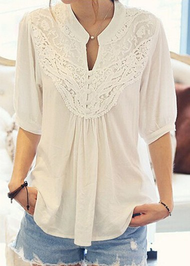 Half Sleeve Lace Patchwork White Blouse