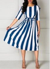 Stripe Print Half Sleeve Belted Dress