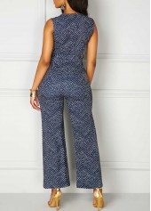 wholesale V Neck High Waist Printed Sleeveless Jumpsuit
