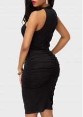 wholesale High Waist Black Ruched Sleeveless Sheath Dress