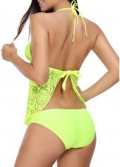 wholesale Lace Panel Tie Back Halter Yellow Tankini