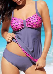 Spaghetti Strap Printed Patchwork Swimdress and Panty
