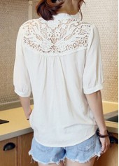 wholesale Half Sleeve Lace Patchwork White Blouse