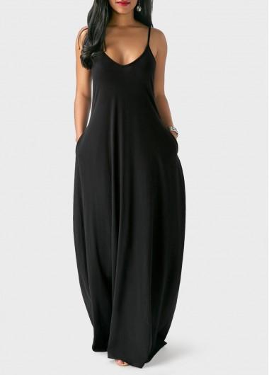 Pocket-Design-Solid-Black-Maxi-Dress