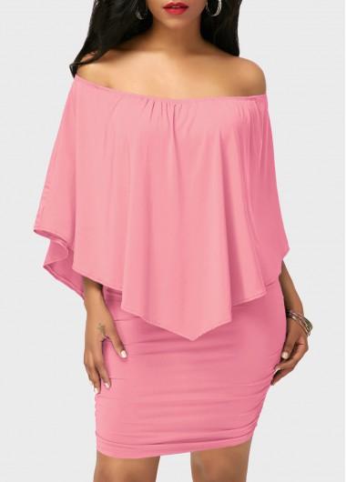 Pink-Off-the-Shoulder-Ruffle-Overlay-Mini-Dress