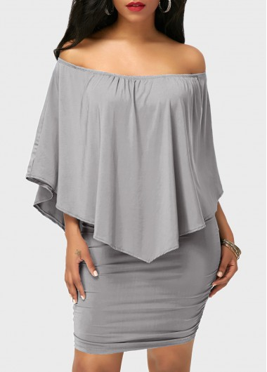 Off-the-Shoulder-Ruffle-Overlay-Grey-Mini-Dress