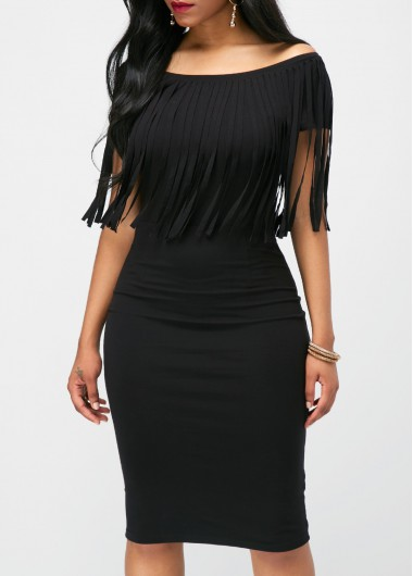 Buy online Tassel Embellished Boat Neck Black Dress