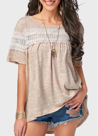 Round Neck Short Sleeve Lace Panel T Shirt