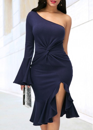 Buy online One Shoulder Side Slit Navy Blue Dress