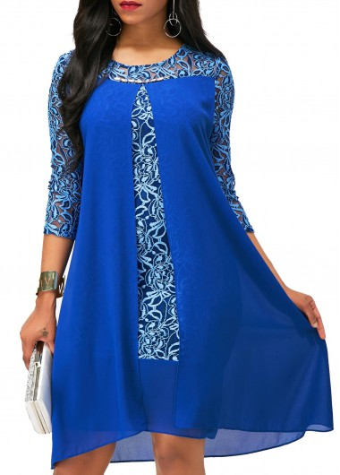 Buy online Royal Blue Lace Patchwork Asymmetric Hem Dress