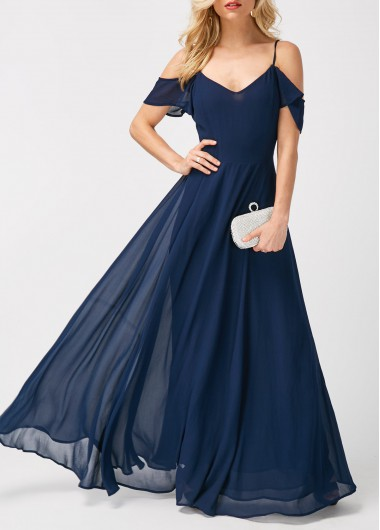 Strappy Cold Shoulder High Waist Navy Maxi Dress