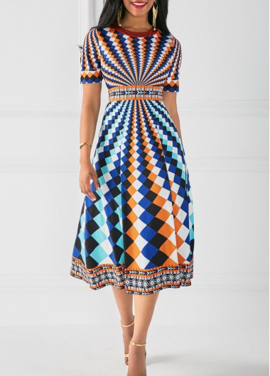 Buy online High Waist Printed Round Neck Dress