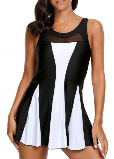 Mesh Patchwork Round Neck Padded Swimdress