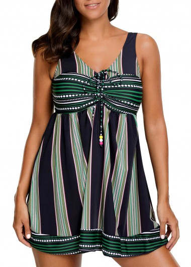 Buy online V Neck Striped Padded Swimdress and Shorts