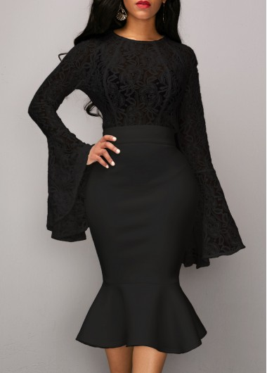Lace-Panel-Flare-Sleeve-Top-and-Black-Skirt