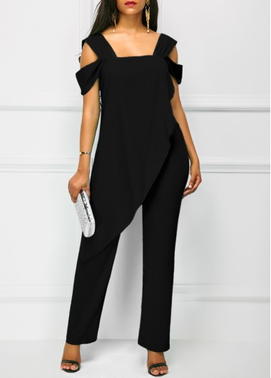 Open Back Overlay Wide Strap Black Jumpsuit
