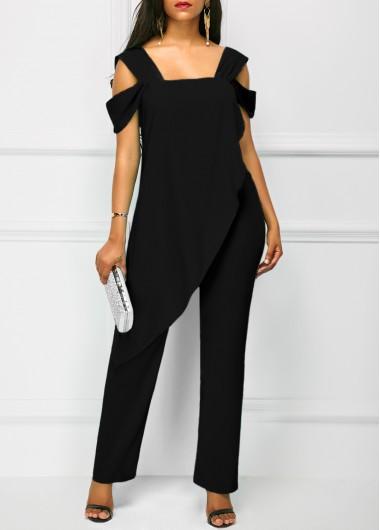 Image of Open Back Overlay Wide Strap Black Jumpsuit