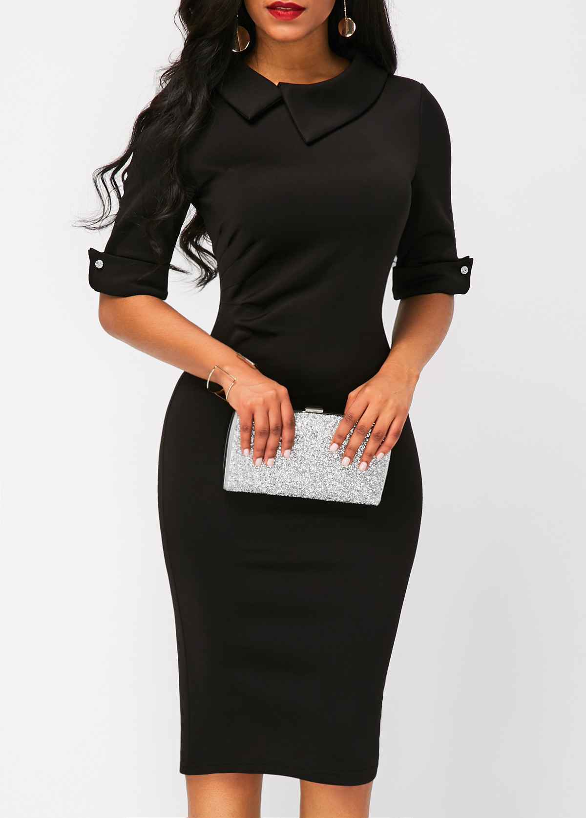 Black Half Sleeve Zipper Back Sheath Dress