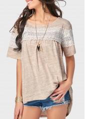 wholesale Round Neck Short Sleeve Lace Panel T Shirt
