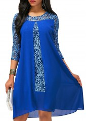 Royal Blue Lace Patchwork Asymmetric Hem Dress