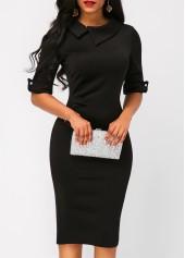 wholesale Black Half Sleeve Zipper Back Sheath Dress