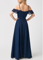 wholesale Strappy Cold Shoulder High Waist Navy Maxi Dress