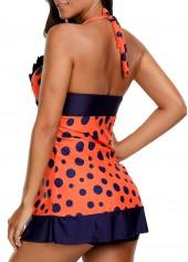 wholesale Polka Dot Print Flouncing Swimdress and Shorts