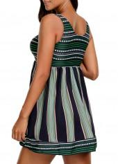 wholesale V Neck Striped Padded Swimdress and Shorts