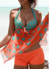 Polka Dot Print Padded Open Back Tankini Set