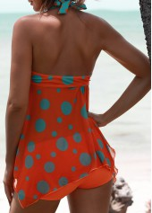wholesale Polka Dot Print Padded Open Back Tankini Set