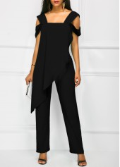 wholesale Open Back Overlay Wide Strap Black Jumpsuit