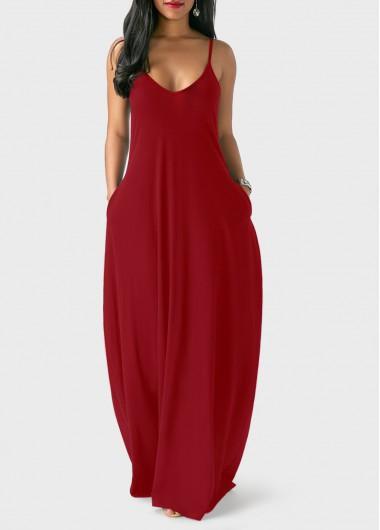 Spaghetti-Strap-Wine-Red-Maxi-Dress