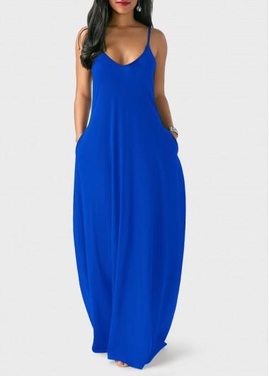 Royal-Blue-Spaghetti-Strap-Maxi-Dress