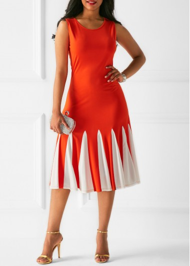 Buy online Sleeveless Printed Zipper Back Orange Dress