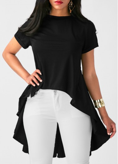Buy online Short Sleeve Pleated Patchwork Black Blouse