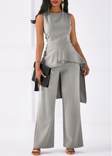 Asymmetric Hem Sleeveless Top and Grey Pants