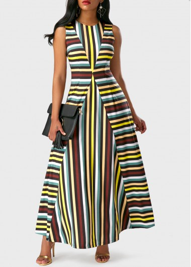 Buy online Round Neck Stripe Print Sleeveless Maxi Dress