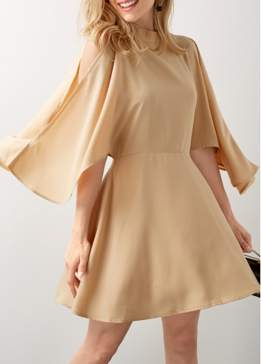 Buy online Split Sleeve Mock Neck Beige Mini Dress