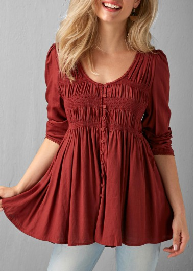 Buy online Button Up Pleated Wine Red Blouse