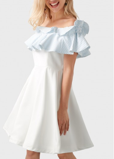 Buy online Ruffle Overlay Stripe Print High Waist White Bardot Dress
