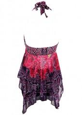 wholesale Halter Neck Asymmetric Hem Printed Swimdress and Shorts