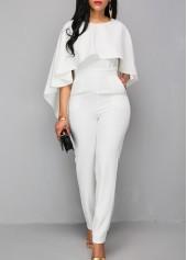 V Back Zipper Closure White Cloak Jumpsuit