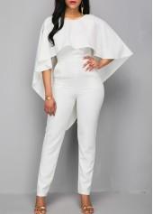 wholesale V Back Zipper Closure White Cloak Jumpsuit