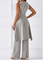 wholesale Asymmetric Hem Sleeveless Top and Grey Pants